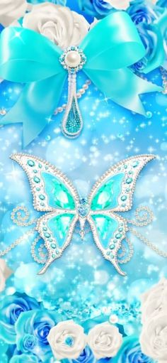 Bling Wallpaper, Butterfly Wallpaper, Aqua, Turquoise, Tiffany Blue, Cinderella, Sparkle, Disney Princess, Elegant