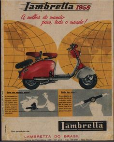 1958 Lambretta. My neighbor had one of these when I owned a '59 Vespa.  Classic motor scooter.