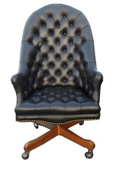Chesterfield Black Leather Tufted Executive Chair | Chairish