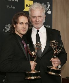 "Jonathan Jackson, left, winner of the award for supporting actor in a drama series for ""General Hospital"" and Anthony Geary, winner of the award for lead actor in a drama series for ""General Hospital,"" pose backstage at 39th Annual Daytime Emmy Awards at the Beverly Hilton Hotel on Saturday, June 23, 2012 in Beverly Hills, Calif."