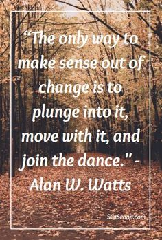 """Quote about change - """"The only way to make sense out of change is to plunge into it, move with it, and join the dance."""" - Alan W. Watts"""