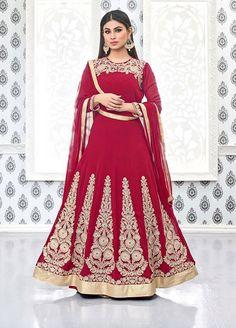 Mouni Roy Cherry Red Anarkali Suit