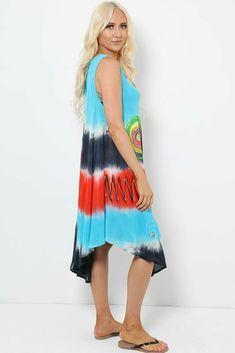 Tie Dye Sleeveless Midi Dress Asymmetric Boho Hippie Festival Beach Aqua Navy UK #Unbranded #KaftanBeachDress #Casual Hippie Dresses, Boho Dress, Hippie Festival, Boho Hippie, Kaftan, Tie Dye Skirt, Aqua, Navy, Beach