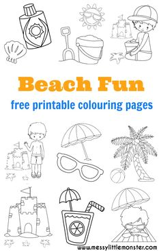 Beach colouring pages to download (for free) and print out.  A great activity to keep the kids busy this Summer. The seaside themed printables in this set include a sandcastles, children playing on the beach, sun lotion, a bucket and spade, flip flops, sun glasses, a summer drink and a palm tree.