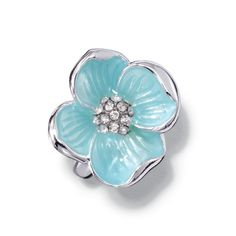 Garden Beauties Collection Flower Ring   Avon -  Silvertone light blue (aqua) four petal flower ring with faux clear stones in center. Imported.