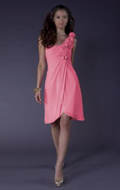 A-line Knee-length One Shoulder Pink Dress