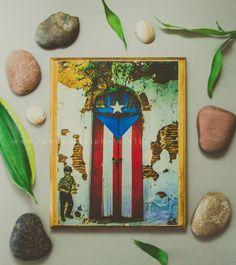Puerto Rico Prints On Wood Wall Art Holiday Gifts Pr Flag Door Island