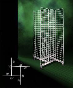 Gridwall Floor Merchandisers - Complete Four-Sided Rolling Grid Merchandiser_