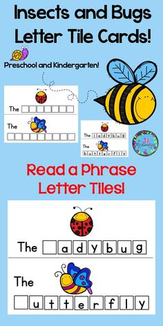 "Preschool Insects Activites and Kindergarten Insects Activities!  Have fun making insects and bugs letter tile names! Included are eleven insects and bugs letter tile cards.  bee, fly, butterfly, grub, worm, ladybug, snail, slug, ant, spider, and beetle Use tiles that you have purchased or made for this literacy center. Just print on cardstock, cut on solid line and laminate! This activity helps to teach the sight word ""the"" as well as animal names. There are three options for"