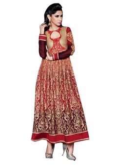 Semi Stitched Pure Georgette Embroidered Anarkali Suit At Aimdeals.com