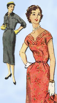 1950s Vintage Misses Dress & Jacket Uncut 1955 Simplicity Sewing Pattern Size 12