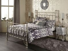 The Sebastian metal bed frame is beautifully crafted with intricate detail, and it's vintage-inspired design will transform any bedroom into a statement. Metal Bedsteads, Leather Bed Frame, King Size, Vintage Inspired, Bedroom, Wood, Interior, Inspiration, Madeira