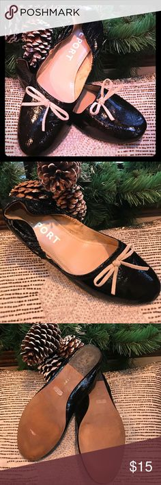 Darling black shiny leather flats with leather bow Gently used condition leather size 10 Report Shoes Flats & Loafers