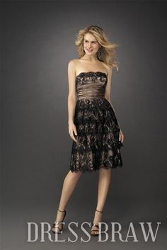 Black Lace Stunning Strapless Evening Dress: Dressbraw.com