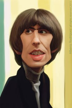 George Harrison by Albeniz Rodriguez George Harrison, Funny Caricatures, Celebrity Caricatures, Keith Richards, Ringo Starr, Beatles Art, The Beatles, Cartoon Faces, Funny Faces