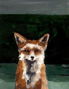 fox portrait from acrylic painting. SMUG FOX . giclee animal art print
