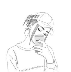 Image about girl in Zeichnungen😍🌹 by Larissa LaaLa Tumblr Girl Drawing, Tumblr Sketches, Girl Drawing Sketches, Cute Girl Drawing, Girly Drawings, Girl Sketch, Pencil Art Drawings, Tumblr Outline Drawings, Drawing Girls