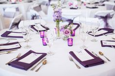 Use gold dollies instead Wedding Table Centerpieces, Reception Decorations, Purple Wedding, Wedding Colors, Wedding Reception, Our Wedding, Wedding Ideas, Simple Centerpieces, Centerpiece Ideas
