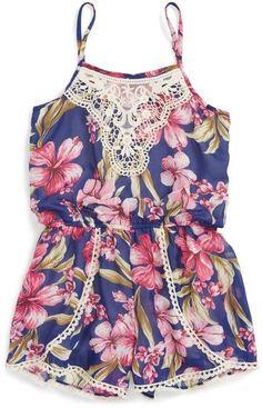 Truly Me Floral Romper (Toddler Girls & Little Girls)