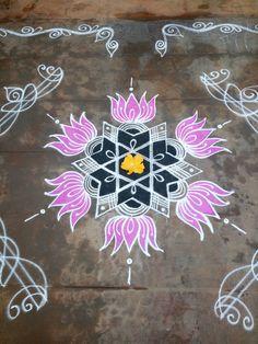 231 star with lotus Rangoli Designs Latest, Rangoli Designs Flower, Rangoli Border Designs, Rangoli Ideas, Rangoli Designs Diwali, Rangoli Designs With Dots, Rangoli Designs Images, Beautiful Rangoli Designs, Mehandi Designs