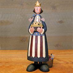 Woman Holding Pie on 4th of July Figurine - Everyday Folk Art Figurines & Collectibles – Williraye Studio