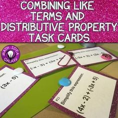 This set of combining like terms task cards gets students practicing combining like terms with distributive property, combining like terms with positive and negative integers, and combining like terms with confidence! Math Activities, Interactive Activities, Math Resources, Math Worksheets, Math Properties, Negative Integers, 7th Grade Math, Math 8, Math Class