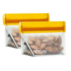 (re)zip Stand-Up 1/2 Cup/4-ounce Leakproof Reusable Storage Bag 2-Pack (Orange)