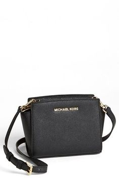 MICHAEL Michael Kors 'Selma - Mini' Saffiano Leather Messenger Bag available at #Nordstrom in GREEN