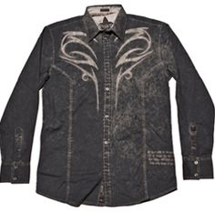 Steel blue embroidered shirt by Roar Clothing