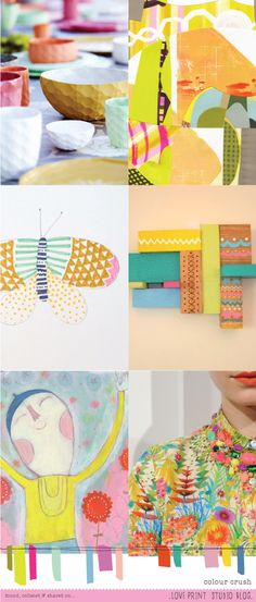 Love the way these colors are done on this trend board :-) Colour crush - love print studio blog