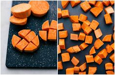 Cutting a sweet potato into equal-sized 1/2 inch cubes for roasting Best Baked Sweet Potato, Sweet Potato Side Dish, Paleo Sweet Potato, Sweet Potato Recipes, Potato Ideas, Healthy Potato Recipes, Roasted Vegetable Recipes, Healthy Meals, Vegetarian Meals