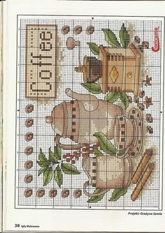 *Coffee: Relaxing Me-time Moment ~Borduurpatroon *Cross stitch pattern Cross Stitch Kitchen, Cross Stitch Love, Counted Cross Stitch Patterns, Cross Stitch Charts, Cross Stitch Designs, Cross Stitch Embroidery, Embroidery Patterns, Cross Stitch Pictures, Crochet Cross