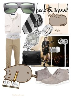 """#PVxPusheen"" by bvn01 ❤ liked on Polyvore featuring Lacoste, Ralph Lauren, UGG Australia, Mulberry, ZeroUV, Will Leather Goods, Beats by Dr. Dre, Rolex, Blue Nile and men's fashion"