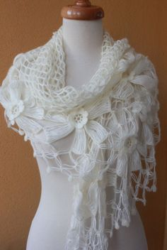 Shawl Wedding Ivory Shawl Crochet Shawl TRIANGLE by filofashion, $75.00