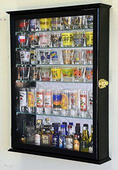 Large Mirror Backed And 7 Glass Shelves Shot Glasses Display Case Holder Cabinet , Black, 2015 Amazon Top Rated Shot Glasses #Kitchen