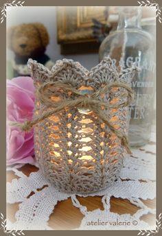 Crochet Motif, Crochet Doilies, Crochet Patterns, Crochet Style, Crochet Decoration, Crochet Home Decor, Lace Jars, Crochet Jar Covers, Mason Jar Crafts