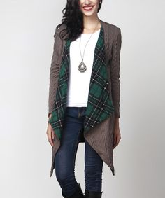 Charcoal Cable Knit & Green Plaid Draped Cardigan by Reborn Collection #zulily #zulilyfinds
