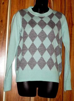 NWT Woman's Forever 21 Green & Gray Argyle Acrylic Sweater Size Small Now $12.87
