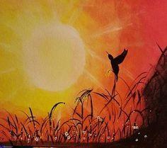 acrylic painting - Sunset Bird by jennysartboutique on Etsy