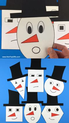 Shape snowman craft for preschoolers, kindergartners and older kids to make this winter. Snowman printable template available. Toddler Arts And Crafts, Arts And Crafts For Teens, Halloween Crafts For Toddlers, Art And Craft Videos, Easy Arts And Crafts, Winter Crafts For Kids, Arts And Crafts Storage, Snowman Crafts, Infant Activities