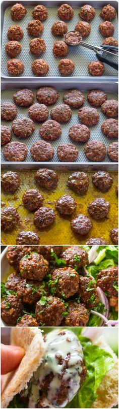 Easy Baked Kofta Patties with Tahini Sauce Patty , Lebanese Recipes, Turkish Recipes, Greek Recipes, Indian Food Recipes, Lamb Recipes, Paleo Recipes, Cooking Recipes, Kebab Recipes, Delicious Recipes