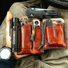 """Double Tap if you like it! carries these eye-catching leather organizers. What a smart way keep all your gear within reach. """"Quick pocket dump before we get this short week started. Leather Holster, Leather Pouch, Everyday Carry Gear, Best Pocket Knife, Edc Knife, Edc Gear, Leather Projects, Tactical Gear, Leather Working"""
