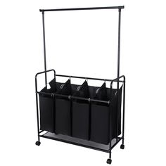 Amazon.com - Songmics Black 4-Bag Rolling Laundry Sorter Cart With Hanging Bar Heavy-duty Laundry Bag Hamper with 4 Wheels Larger Bags URLS44H -