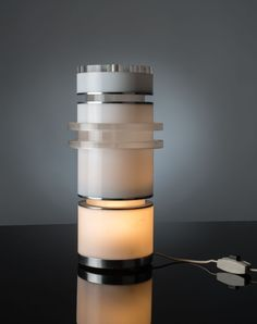 Ingrid Hsalmarson; Methacrylate and Aluminum 'Asta' Table Lamp for New Lamp, c1970.