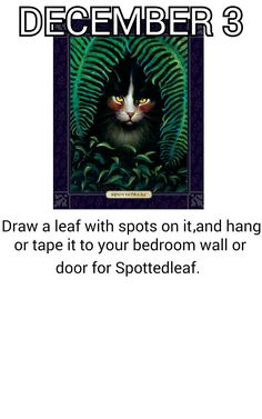 Draw a spotted leaf and hang it on the wall/door for Spottedleaf.