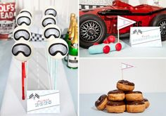 the donut 'tire' stack. also the vintage oil canslove the donut 'tire' stack. also the vintage oil cans Race Car Birthday, Race Car Party, Nascar Party, 7th Birthday, Vintage Car Party, Vintage Race Car, Vintage Theme, Car Themed Parties, Cars Birthday Parties