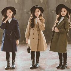 Trench coat for teenage girls long windbreaker children clothes 2019 autumn solid children clothes new fashion school clothes 8 Little Girl Skirts, Cute Little Girls Outfits, Teenage Girl Outfits, Kids Outfits Girls, Girls Fashion Clothes, Cute Outfits For Kids, Girl Fashion, Girls Trench Coat, Trench Coat Outfit