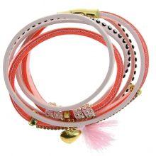 Bracelet multi-rang double tour détail strass et pompon