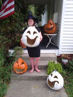 RESERVED BIG GHOST Jack O Lantern White by lindafrenchgallery
