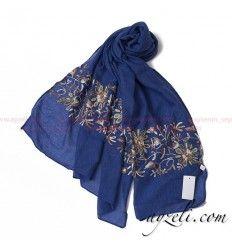 Renkli Çiçek Nakışlı Pamuk Şal - Lacivert